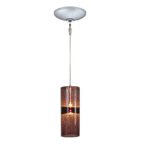 Envisage VI Satin Nickel One-Light Low Voltage Cylinder Mini Pendant with Purple Shade