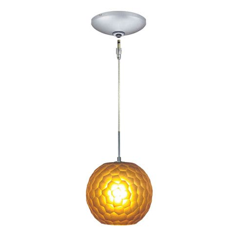 Envisage VI Satin Nickel One Light Low Voltage Globe Mini Pendant With  Amber Shade