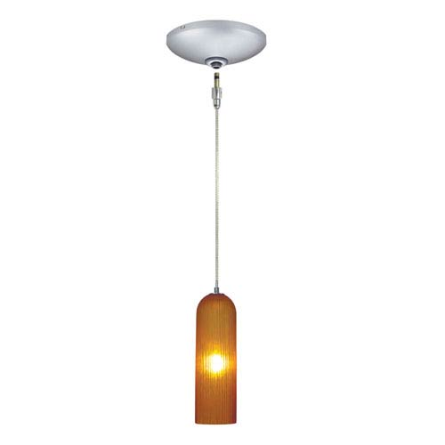Envisage VI Satin Nickel One-Light Low Voltage Mini Pendant with Amber Shade