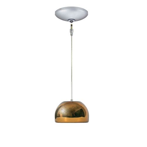 Envisage VI Satin Nickel One-Light Low Voltage Dome Pendant with Chocolate Shade