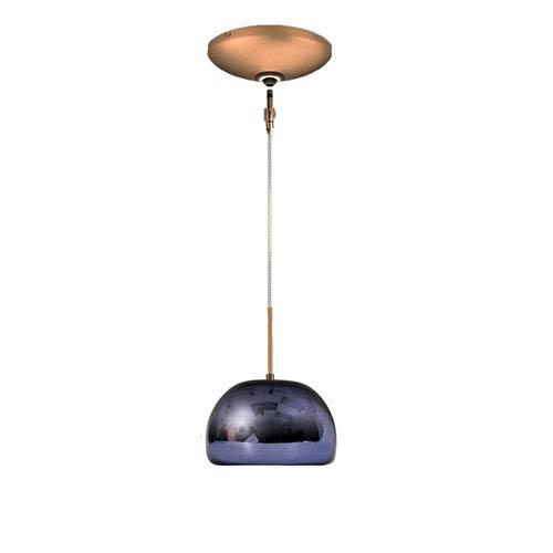 Envisage VI Bronze One-Light Low Voltage Dome Pendant with Purple Shade