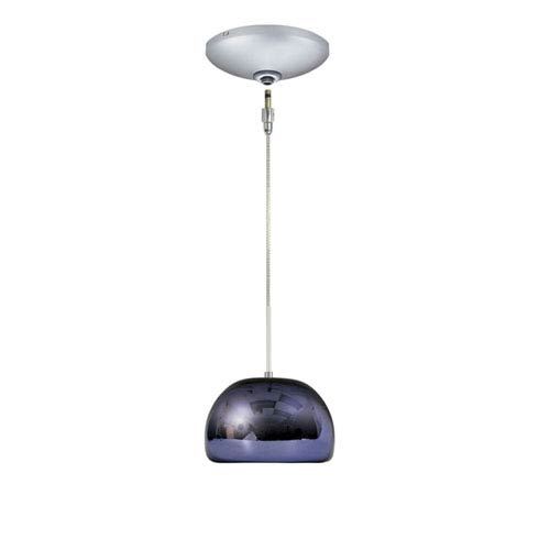 Envisage VI Satin Nickel One-Light Low Voltage Dome Pendant with Purple Shade