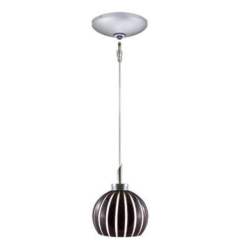 Jesco Lighting Group Fabian Satin Nickel Low Voltage Pendant and Canopy Kit with Black & White Glass