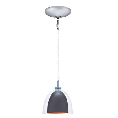 Jesco Lighting Group Lina Satin Nickel Low Voltage Pendant and Canopy Kit with Gun Metal Exterior / Orange Interior Glass