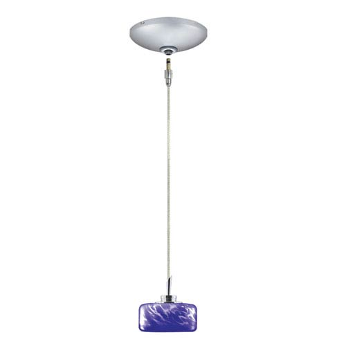 Jesco Lighting Group Elaine Satin Nickel Low Voltage Pendant and Canopy Kit with Blue Frit Glass