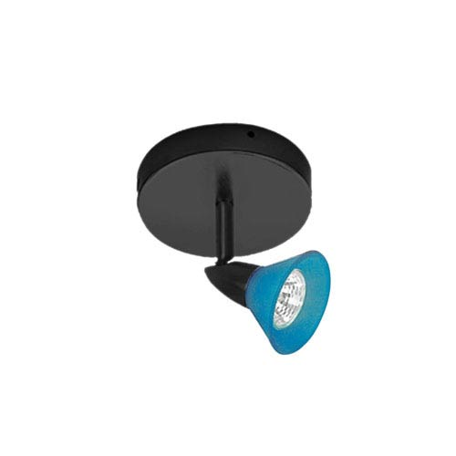 Black One-Light Ceiling Mount with Blue Glass