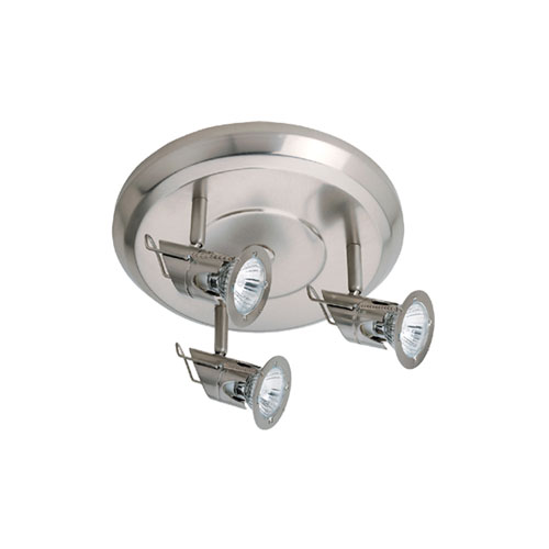 Satin Chrome Three-Light Ceiling Mount with Disk Shades