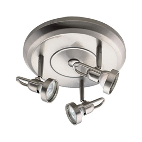 Satin Chrome Three-Light Ceiling Mount with Looped Backs