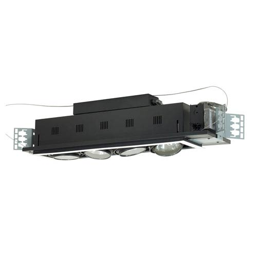 Black Four-Light Low Voltage New Construction Double Gimbal Recessed with White Trim
