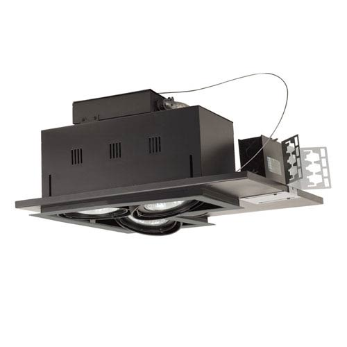 Black Three-Light New Construction Double Gimbal Linear Recessed with Silver Trim