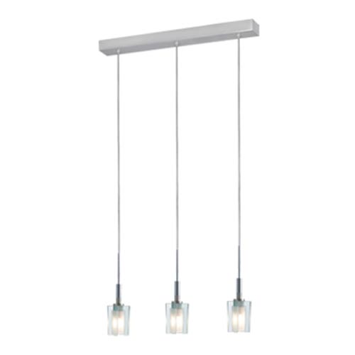 Akina Satin Nickel Three-Light Mini Pendant with Clear-Frosted Glass