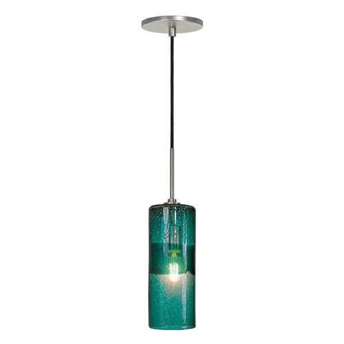 Jesco Lighting Group Envisage VI Brushed Nickel One-Light Cylinder Mini Pendant with Teal Shade