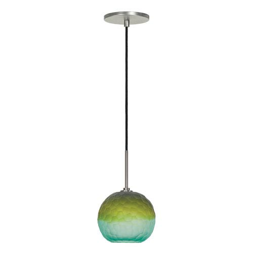 Envisage VI Brushed Nickel One-Light Globe Mini Pendant with Blue and Green Shade