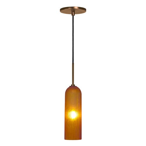 Envisage VI Bronze One-Light Mini Pendant with Amber Shade