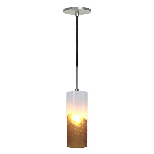 Envisage VI Brushed Nickel One-Light Mini Pendant with White and Amber Shade