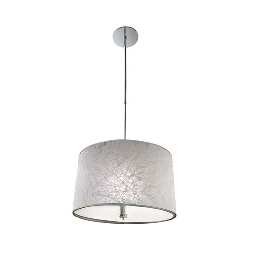 Chrome Three-Light Pendant with Iced White Shade