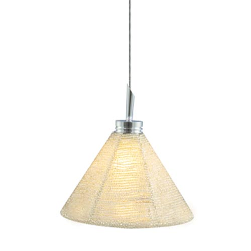 Halle Chrome Quick Adapt Mini Pendant with Silver Handcrafted Beaded Shade