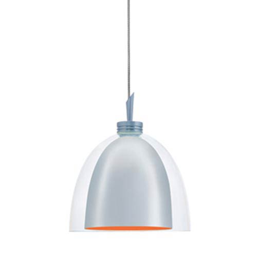 Jesco Lighting Group Lina Chrome Quick Adapt Mini Pendant with Clear Glass over Chrome Metal Shade with Orange Painted