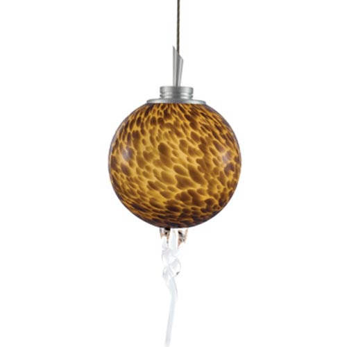 Jesco Lighting Group Tori Satin Nickel Quick Adapt Mini Pendant with Amber Spherical Frit Glass with Crystalline Spiral