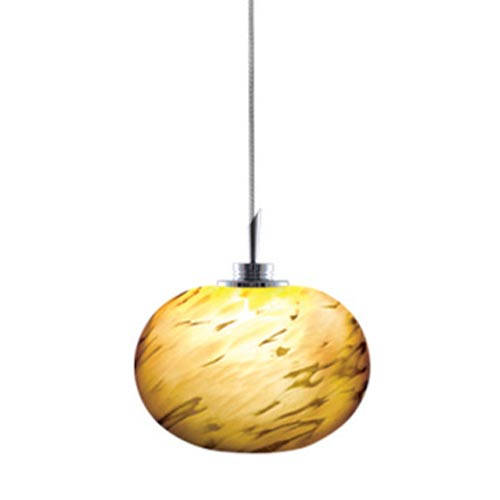 Todd Chrome Quick Adapt Mini Pendant with Amaretto Spherical Frit Glass Shade