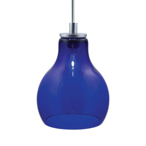 Jesco Lighting Group Ernie Satin Nickel Quick Adapt Mini Pendant with Cobalt Glass