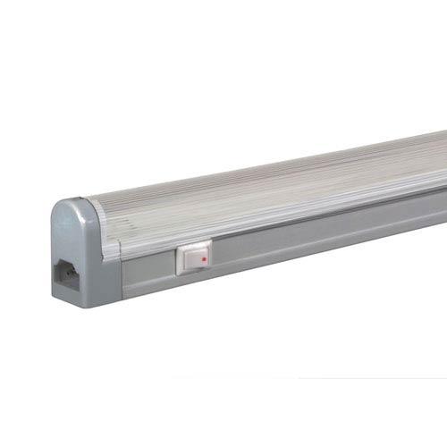 Silver 14-Inch Adjustable 8W T4 Fluorescent Undercabinet with Rocker Switch, 4100K