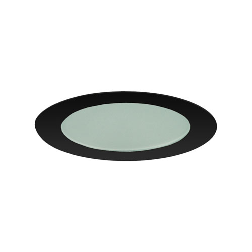 Black 4-Inch Flat Shower Trim with Frosted Glass