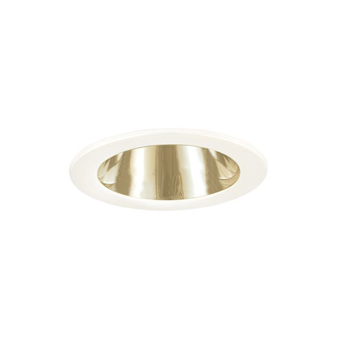 Polished Brass and White 3-Inch Low Voltage Trim with Adjustable Open Reflector