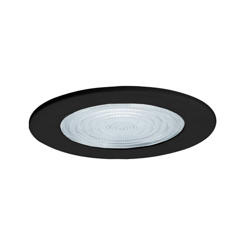 Black 5-Inch Line Voltage Shower Trim with Fresnel Lens Trim
