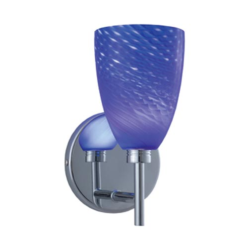 Goblet Chrome Wall Sconce with Blue Cased Glass