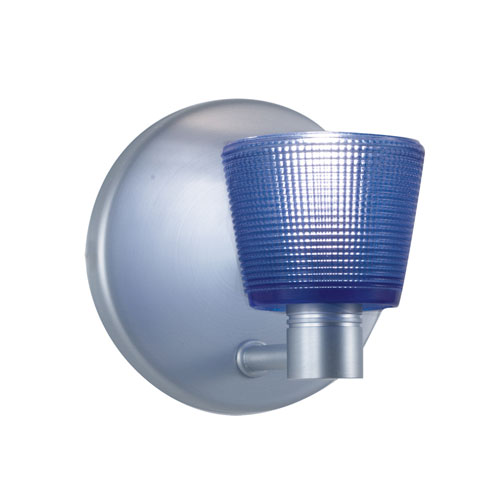 Satin Nickel One-Light Wall Sconce with Round Blue Shade