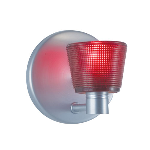 Satin Nickel One-Light Wall Sconce with Round Red Shade