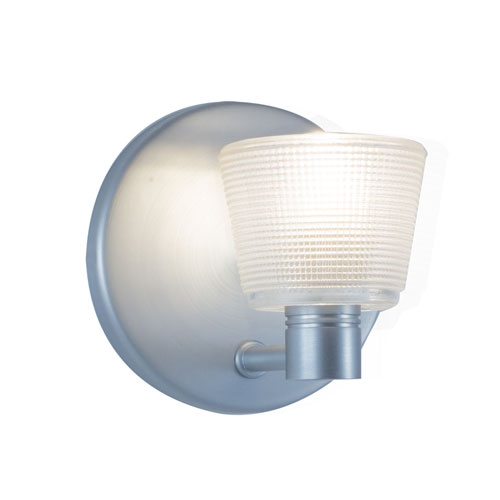 Satin Nickel One-Light Wall Sconce with White Shade