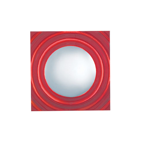 Chrome and Red One-Light Square Wall Sconce