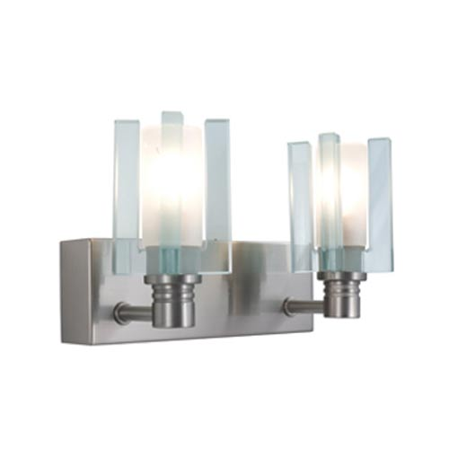 Akina Satin Nickel Two-Light Wall Sconce with Clear-Frosted Glass