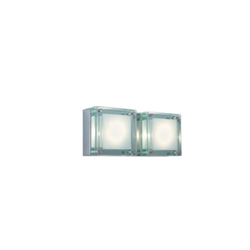 Jesco Lighting Group Quattro Chrome/Glass Two-Light Bath Light with Clear Tempered
