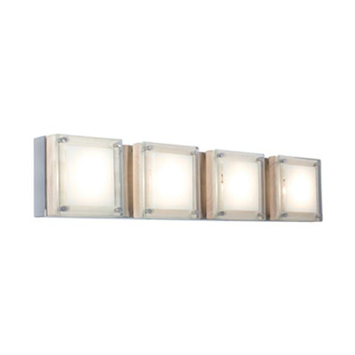 Jesco Lighting Group Quattro Chrome Birch Four Light Low Voltage Bath With Clear Tempered Gl