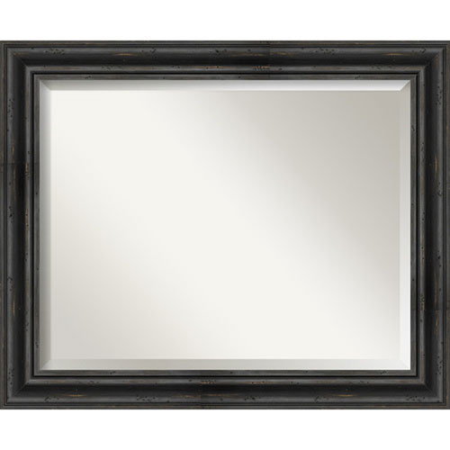 Rustic Pine Black 33-Inch Bathroom Wall Mirror