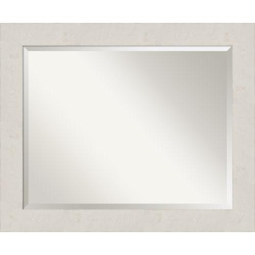 Rustic Plank White 33W X 27H-Inch Bathroom Vanity Wall Mirror