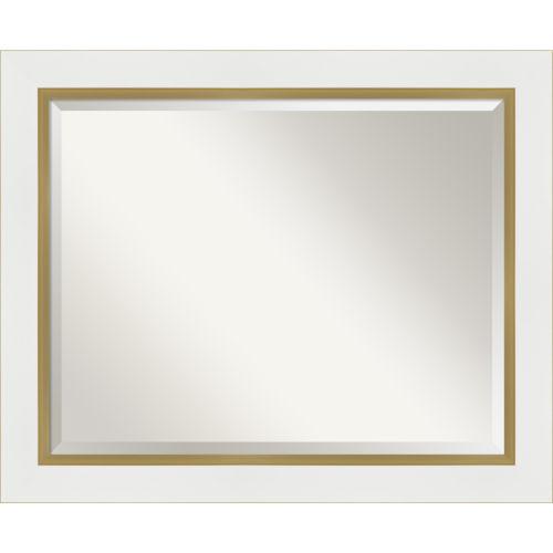 Eva White and Gold 33W X 27H-Inch Bathroom Vanity Wall Mirror