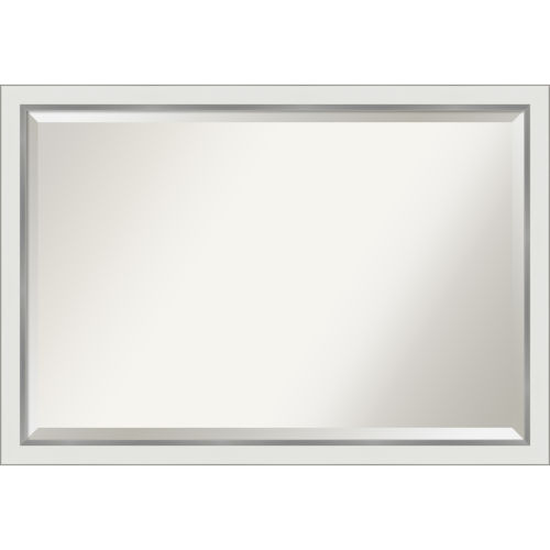 Eva White and Silver 39W X 27H-Inch Bathroom Vanity Wall Mirror