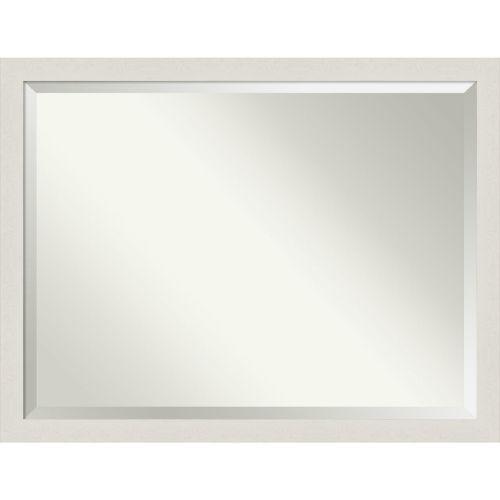 Rustic Plank White 43W X 33H-Inch Bathroom Vanity Wall Mirror