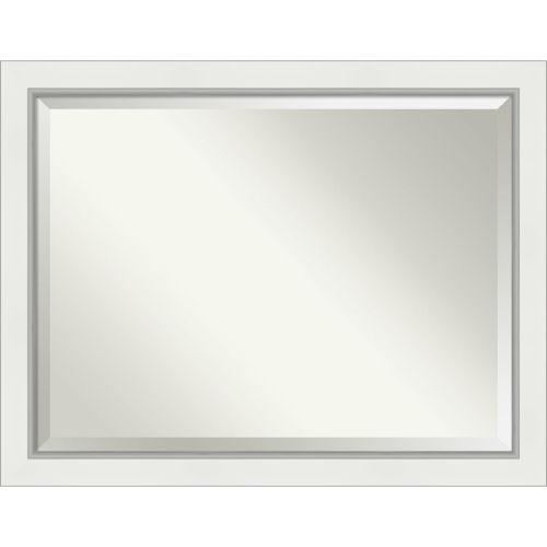 Eva White and Silver 45W X 35H-Inch Bathroom Vanity Wall Mirror