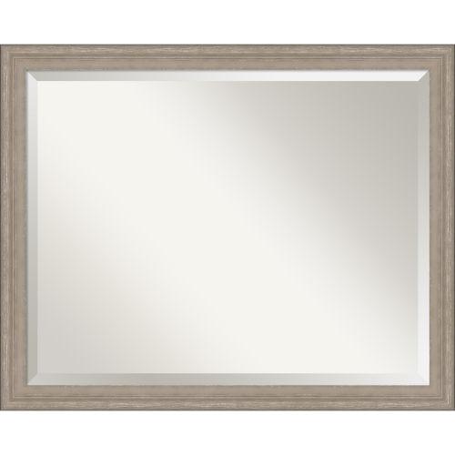 Gray Wood Frame Bathroom Vanity Wall Mirror