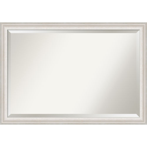 Trio White and Silver 40W X 28H-Inch Bathroom Vanity Wall Mirror