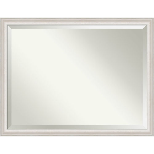 Trio White and Silver Bathroom Vanity Wall Mirror