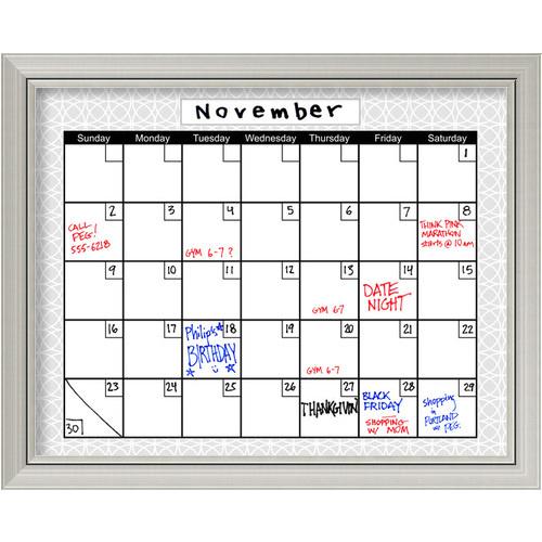 Amanti Art Medallion Grey Dry Erase Calendar Board