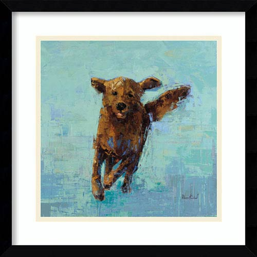 Golden Dog No. 5 by Rebecca Kinkead: 17 x 17-Inch Framed Art