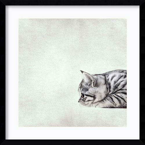In The Waiting Line Kitty by Nadia Attura: 21 x 21-Inch Framed Art