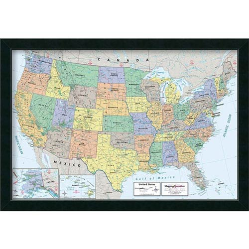 2016 United States Map Classic Physical By Mapping Specialists : 39 X  27 Inch Framed